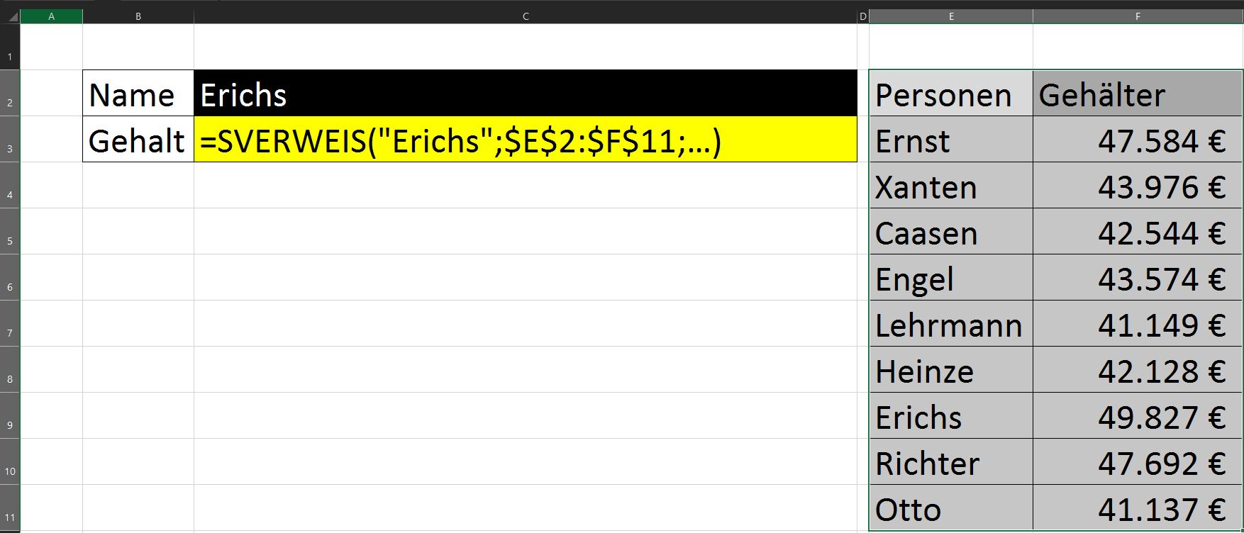 Sverweis Suchbereich Matrix