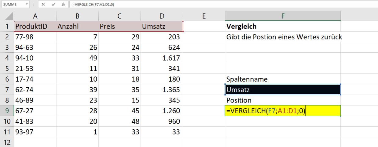 Die Excel VERGLEICH Funktion ganz einfach erklärt | Excelhero