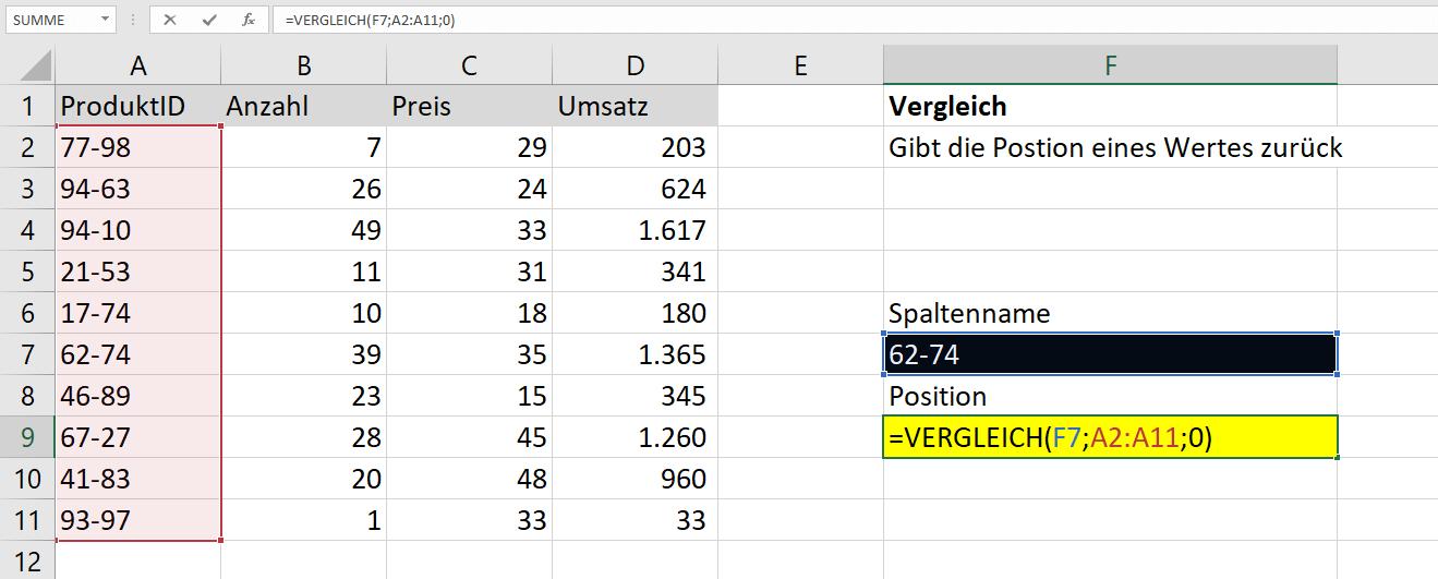 Excel Zwischen