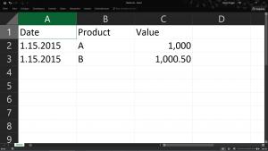 CSV in Excel geöffnet nachher