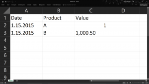 CSV in Excel geöffnet vorher